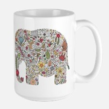 Floral Elephant Silhouette Mugs