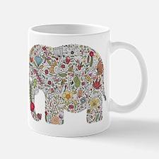 Floral Elephant Silhouette Mugs