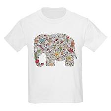 Floral Elephant Silhouette T-Shirt