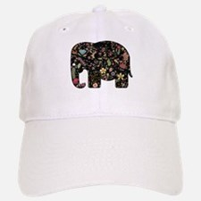 Floral Elephant Silhouette Baseball Hat