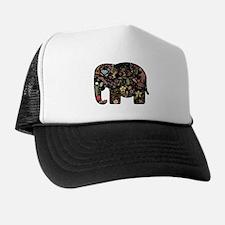 Floral Elephant Silhouette Cap