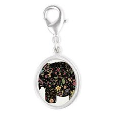 Floral Elephant Silhouette Charms