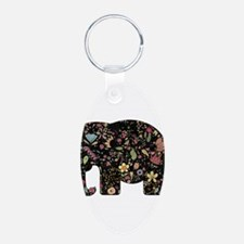 Floral Elephant Silhouette Keychains