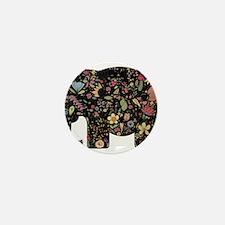 Floral Elephant Silhouette Mini Button