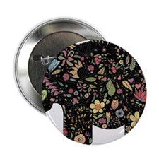 """Floral Elephant Silhouette 2.25"""" Button (10 pack)"""