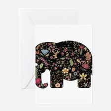 Floral Elephant Silhouette Greeting Cards