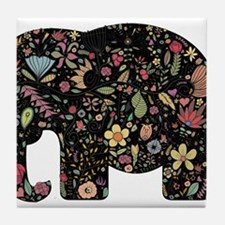 Floral Elephant Silhouette Tile Coaster