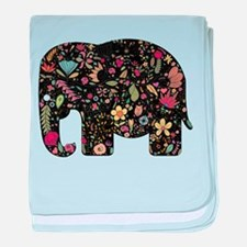 Floral Elephant Silhouette baby blanket