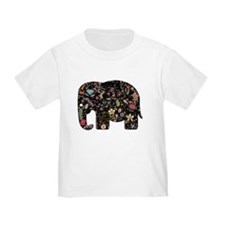 Floral Elephant Silhouette T-Shirt