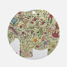 Floral Elephant Silhouette Ornament (Round)