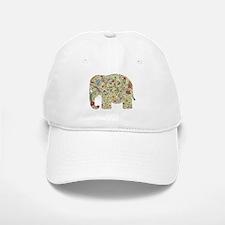 Floral Elephant Silhouette Baseball Baseball Baseball Cap