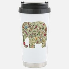 Floral Elephant Silhouette Travel Mug