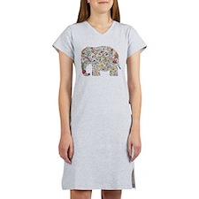 Floral Elephant Silhouette Women's Nightshirt