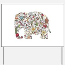 Floral Elephant Silhouette Yard Sign
