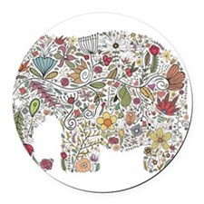 Floral Elephant Silhouette Round Car Magnet