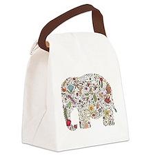 Floral Elephant Silhouette Canvas Lunch Bag