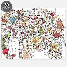 Floral Elephant Silhouette Puzzle
