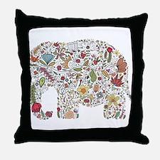 Floral Elephant Silhouette Throw Pillow