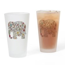Floral Elephant Silhouette Drinking Glass