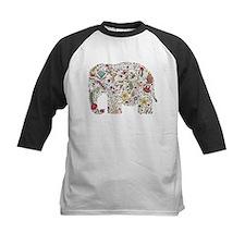 Floral Elephant Silhouette Baseball Jersey