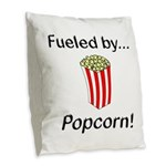 Fueled by Popcorn Burlap Throw Pillow