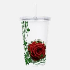 Rose With Four Leaf Cl Acrylic Double-wall Tumbler