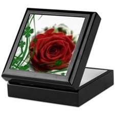 Rose With Four Leaf Clovers Keepsake Box
