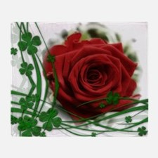Rose With Four Leaf Clovers Throw Blanket