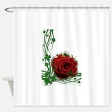 Rose With Four Leaf Clovers Shower Curtain