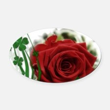Rose With Four Leaf Clovers Oval Car Magnet