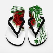 Rose With Four Leaf Clovers Flip Flops