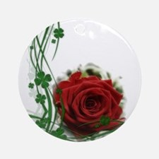 Rose With Four Leaf Clovers Ornament (Round)