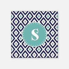 "Navy Blue Ikat Diamond Patt Square Sticker 3"" x 3"""