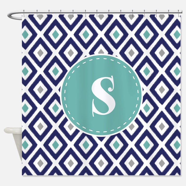 Navy And Teal Shower Curtains Navy And Teal Fabric Shower