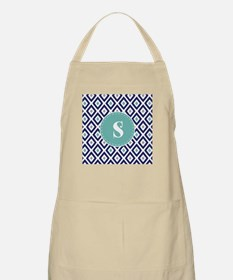 Navy Blue Ikat Diamond Pattern Monogram Apron