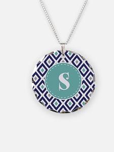Navy Blue Ikat Diamond Patte Necklace