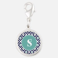 Navy Blue Ikat Diamond Pattern Silver Round Charm