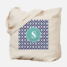 Navy Blue Ikat Diamond Pattern Monogram Tote Bag