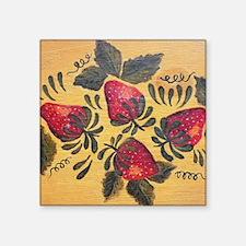 "Folk Art Strawberries Square Sticker 3"" x 3"""