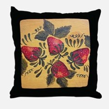 Folk Art Strawberries Throw Pillow