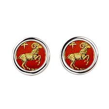 Golden Chinese Ram  Round Cufflinks