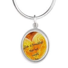 Love Is Friendship Silver Oval Necklace