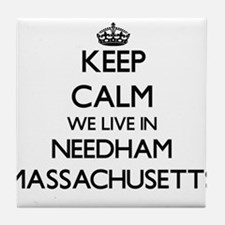 Keep calm we live in Needham Massachu Tile Coaster