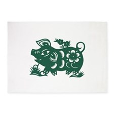 Pig Chinese Asian Astrology Zodiac 5'x7'Area Rug