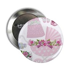 """Pink Vintage Baby Girl Gifts 2.25"""" Button"""