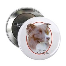 Red Border Collie Cameo Button