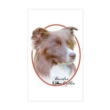 Red Border Collie Cameo Sticker (Rect.)