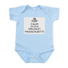 Keep calm we live in Wellesley Massachus Body Suit