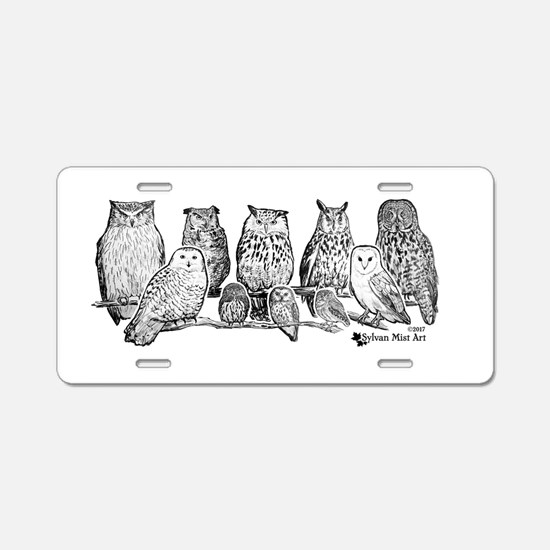 Owls - Ink Drawing Aluminum License Plate