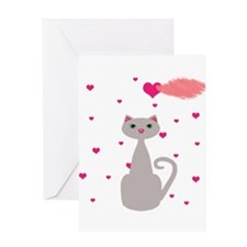 Pink Gray Love Cat Greeting Cards